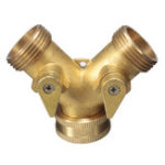 New 2 Way Brass Y-Type Hose Connector Garden Irrigation Fit for Standard 3/4″ Dia. Connection