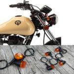New Universal 4PCS Retro Motorcycle Bike Flasher Black Front Rear Blinker Turn Lights Indicator
