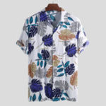 New ChArmkpR Men Tropical Plants Printed Hawaiian Beach Shirts