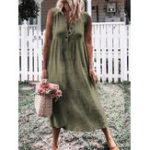 New Women Casual Cotton Linen Pure Color Sleeveless Dress