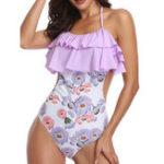 New One-Piece Halter Ruffled Collar Side Spot Swimwear
