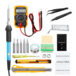 New 60W Electric Solder Iron Kit Wood Burning Pen 9V Multimeter LCD Welding Tools US Plug