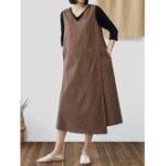 New Cotton Linen V-neck Sleeveless Plus Size Dress with Pockets