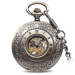 New JIJIA JX009 Carved Flowe  Hollow Mechanical Pocket Watch