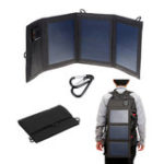 New 12W 5.5V Tri-fold Foldable Waterproof Monocrystalline Silicon Solar Panel With 2Pcs Carabiner + USB Port