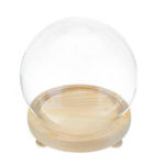New Round Decorative Transparent Glass Dome with Wooden Base Cloche Bell Jar