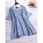 New Women Cotton Plaid Crew Neck Short Sleeve Blouse