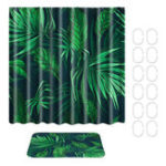New Tropical Plants Waterproof Shower Curtain Fabric With Hooks Ring Polyester Bathroom Rugs Mat