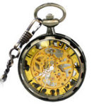 New JIJIA JX006 Coverless Hollow Mechanical Pocket Watch