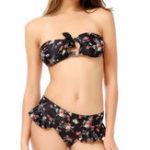 New Split Lace Up Back Animation Floral Bikini