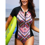 New Short-Sleeved Zipper Front Closure One-Piece Swimwear