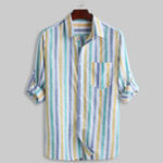 New Mens 100% Cotton Colorful Stripe Practical Pocket Shirts