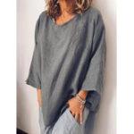 New Women Retro Solid Color Cotton Round Neck Loose Blouse