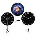New 28cm Modern Acrylic Round Swing Tail Wall Clock Home Living Room Watch Decor