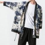 New Mens Chinese Style Crane Printing Loose Kimono