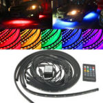 New 4PCS RGB LED Under Car Floor Lights Tube Strip Underglow body Neon Lamp Kit with Wireless Control