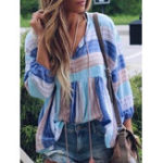 New Women Casual Striped V-Neck Loose Blouse