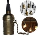 New E27 Bronze Vintage Edison Light Socket Lamp Holder Pendant Bulb Adapter with Zipper AC110-220V
