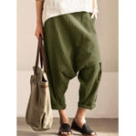 New Pure Color Pocket Casual Women Harem Pants