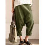 New Pure Color Pocket Casual Women Harem Pants