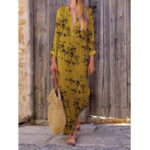 New Women Cotton Linen Casual V Neck Floral Print Maxi Dress