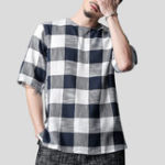 New Mens Plaid Design Classic Breathable Loose T-Shirts