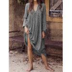 New Women Holiday Leopard Print V-neck Long Sleeve Maxi Dress