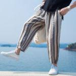 New Mens Vintage Summer Striped Multi Pockets Harem Pants