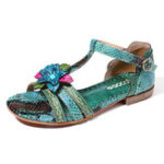 New SOCOFY Handmade Floral Leather Flat Sandals