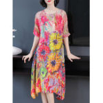 New Women Elegant Floral Print Crew Neck Short Sleeve Dress