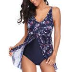 New One-Piece Mesh Print Women Swimwear