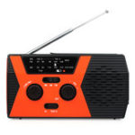 New Retekess HR12W Orange Black Hand Crank Solar Emergency Digital Display Radio with FM AM NOAA SOS Flashlight Reading Lamp for Family Camping Outdoor