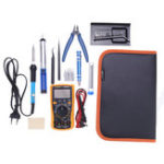 New Adjustable Temperature Solder Iron Tools Kit XL830L Digital Multimeter with 5Pcs Solder Iron Tips & Stand Screwdriver Cutting Plier