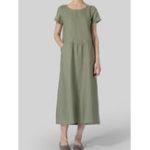 New Vintage Women Solid Color Short Sleeve Crew Neck Dress