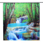 New 3D Waterfall Nature Scenery Bath Shower Curtain Water Resistant Bathroom Shield