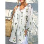 New Women V Neck Cotton Shirt Dress