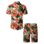 New Mens Floral Printing Hawaiian Beach Suit Slim Holiday Set