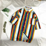 New Mens Colorful Stripe Summer Comfy Trendy Holiday Shirts