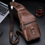 New Bullcaptain Genuine Leather Casual Chest Bag