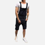 New Men Slim Fit Denim Short Casual Jumpsuit