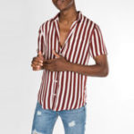 New Men Vertical Stripe Turn-down Collar Short Sleeve Shirts