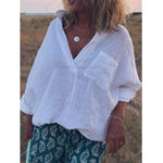 New Women Cotton Linen Solid Color V-Neck Pleated Blouse