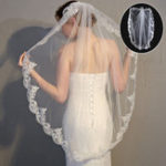 New 90-95cm Ivory White Lace Bridal Veil Wedding Veil with Comb Decor Supplies