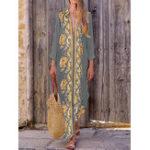 New Bohemian Women V Neck Floral Print Beach Split Maxi Dress