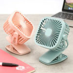 New Square Shape USB Charging Mini Cooling Fan with Clip Head Desktop Small Fan