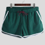 New Men Solid Baggy Beach Sports Drawstring Swimming Trunks