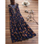 New Women Print Folk Style V-Neck Sleeveless Dress