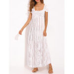 New Lace Crochet Strapless Beach Holiday Maxi Dress