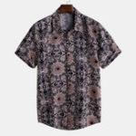 New Mens Vintage Fashion Short Sleeve Floral Printed Shirts