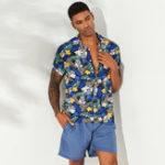 New ChArmkpR Men Tropical Plants Print Hawaiian Shirts